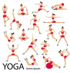 yoga set Women Sketch asana Girl Healthy lifestyle vector image