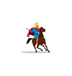 Ancient Greek warrior on horseback preparing to vector image vector image
