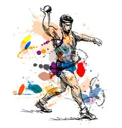 Colored hand sketch athlete ball thrower vector image