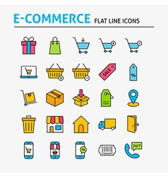 E-commerce Colorful Flat Line Icons Set vector image