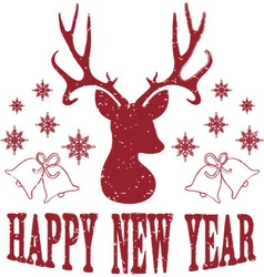 Happy New Year with Christmas Deer vector image