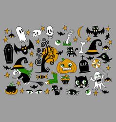 set of halloween element patches pumpkin vector image vector image