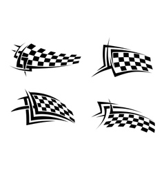 Tribal signs with checkered flags vector image vector image