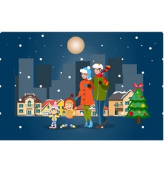 family winter city landscape merry christmas vector image