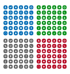 Flat rounded square icons vector image vector image