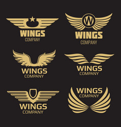 golden wings logo vector image