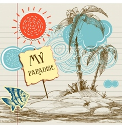 Tropical paradise background sea holiday flyer vector image