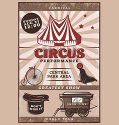 Vintage circus performance poster vector