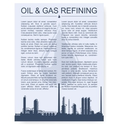 Oil and gas refinery or chemical plant silhouette vector image vector image