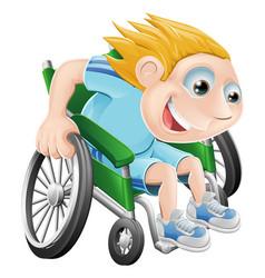 wheelchair racing cartoon man vector image vector image