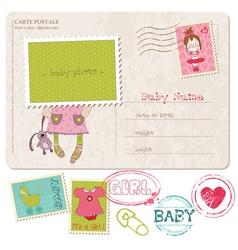 baby girl greeting postcard vector image vector image