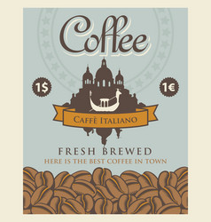 banner with coffee beans and view of venice vector image