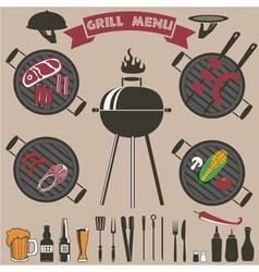 grill menu collection vector image vector image