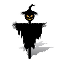 halloween scarecrow with pumpkin vector image vector image