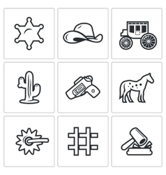 Justice in the wild west icons set vector image