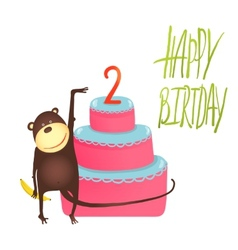 Monkey Cake Two Years Old with Happy Birthday vector image vector image