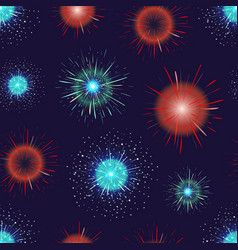seamless pattern with festive fireworks displayed vector image vector image