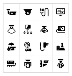 Set icons of video surveillance vector image