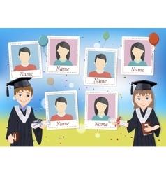 Yearbook with graduate schoolboy and schoolgirl vector image