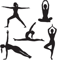 Yoga woman silhouette collection vector image