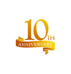 10 year ribbon anniversary vector