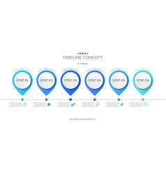 6 steps timeline infographic template vector image vector image