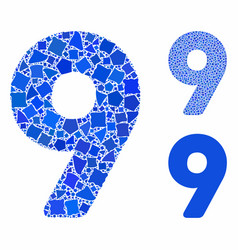 9 digit mosaic icon trembly parts vector