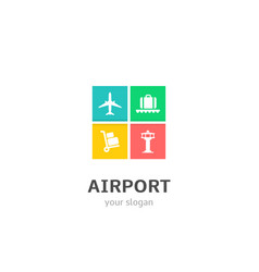 airport icons flat style logo design with airplane vector image