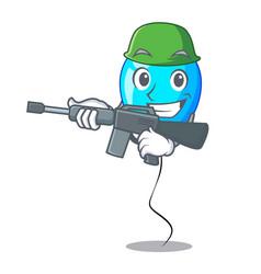 Army birthday cartoon on shape balloon blue vector