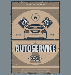 Auto repair service retro poster with old car vector