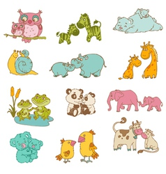 Baby and Mommy Animals vector