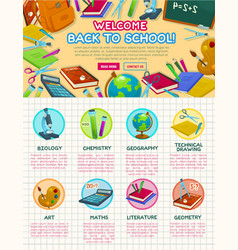 Back to school autumn education poster vector