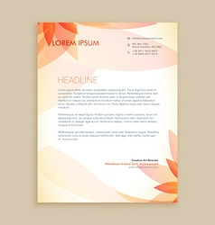 beautiful orange flower letterhead design vector image