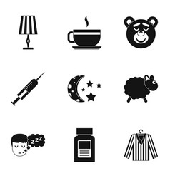 bed time rest icon set simple style vector image