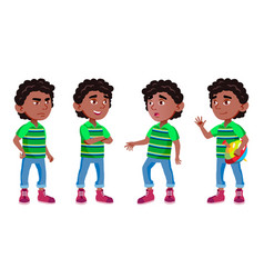 black afro american boy kindergarten kid poses vector image