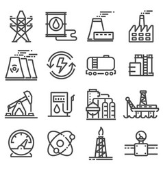 black indutry power icon set vector image