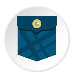 Blue pocket with a button icon circle vector