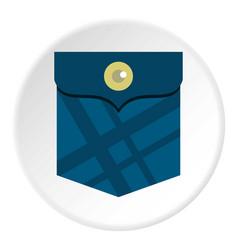 Blue pocket with a button icon circle vector