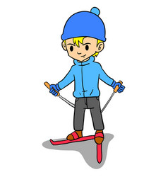 boy playing ski character style vector image