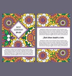 brochure design with vintage floral pattern vector image