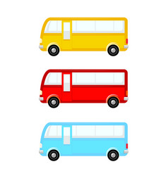 bus icon set different colors side view vector image