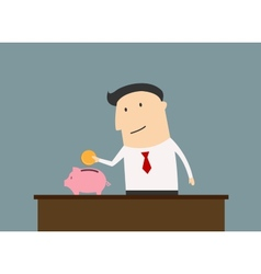 Businessman saving money in piggy bank vector image