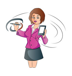 Businesswoman with a smartphone and pen vector