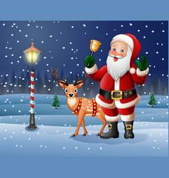 Christmas background with cartoon santa vector
