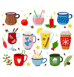 christmas drinks holiday sweet beverages vector image