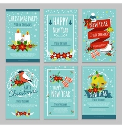 Christmas hand drawn poster set vector