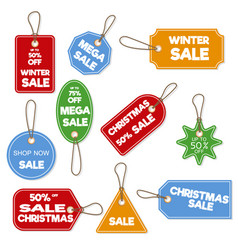 christmas sale paper tag banner holiday discount vector image