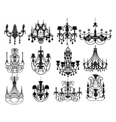 Classic chandelier Set Collection vector