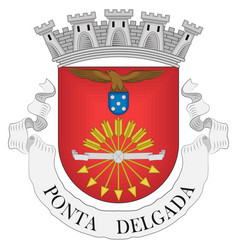 Coat arms ponta delgada district in portugal vector