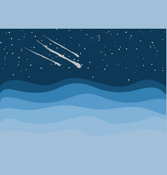 comets in the starry space sky vector image